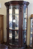 Curved Glass China Hutch with Doors