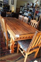 8'  Hand Carved Wooden Dining Table