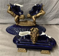 Pair of Art Nouveau Compote Tazza's, One Broken