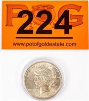 Coin 1935 Peace Silver Dollar in Brilliant Unc.