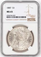 Coin 1887 Morgan Silver Dollar NGC MS6