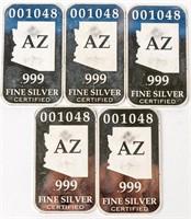 Coin .999 Fine Silver Arizona Bars (5) 2.5 Oz