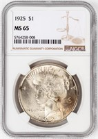 Coin 1925 Peace Silver Dollar in NGC MS65