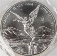 Coin 2010 Mexican 5 Ounce .999 Silver