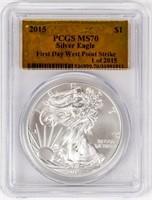 Coin 2015-W American Silver Eagle PCGS MS70