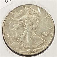1941 S WALKING HALF DOLLAR  XF