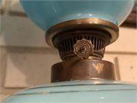 2PC BRISTOL GLASS BLUE LAMPS W ROMANTIC SCENE