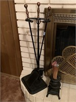 LOT OF IRON FIREPLACE TOOLS / MATCH HOLDER