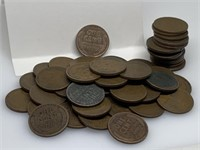 QTY 50 1 ROLL MIXED UNSEARCHED WHEAT PENNIES