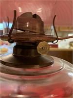 LARGE RED VTG OIL LAMP