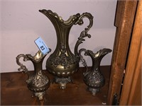 3PC LARGE BAROQUE STYLE PITCHERS