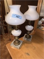 2PC MILK GLASS LAMPS / MARBLE BASES