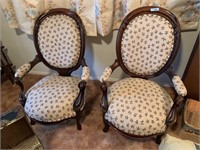 2PC VTG WOOD / UPHOLSTERED PARLOR ARM CHAIRS