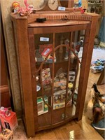 ART DECO WOOD AND GLASS CURIO CABINET