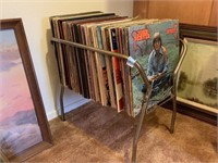 VTG RECORD RACK AND LARGE LOT OF RECORDS