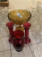 LOT OF AMBER ND RUBY GLASSWARE