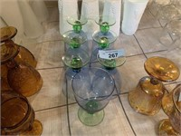 LOT OF BLUE AND GREEN GLASS GOBLETS