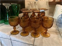 LOT OF AMBER GLASS GOBLETS