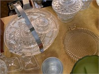 VERY LARGE LOT OF GLASSWARE / CANDY DISHES MORE