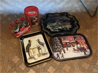 LOT OF DECORATIVE METAL TRAYS