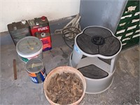 LOT OF GARAGE ITEMS STOOL / MORE