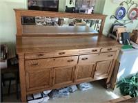 Buffet with bevel mirror  quarter sawn