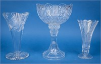 Lot of Crystal Vases & Large Centerpiece Bowl