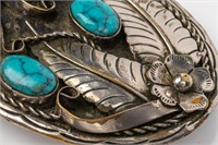 Jewelry Silver Plated Turquoise Belt Buckle