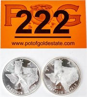Coin (2) .999 Fine Silver 2 Oz. Total - Texas