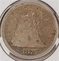 Coin 1875-S United States Twenty Cent Silver VG