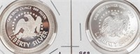Coin (2) .999 Fine Silver 2 Oz. Total