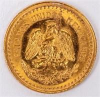 Coin 1945 Dos Y Medio Peso Gold Coin