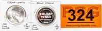 Coin (2) .999 Fine Silver 2 Oz. Total - Trump