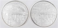 Coin (2) .999 Fine Silver 2 Oz. Total - Cowboy