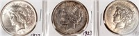 Coin 3 Peace Silver Dollars 1923 P, D & S