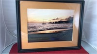Framed Seaside Scene Photograph 15x12""