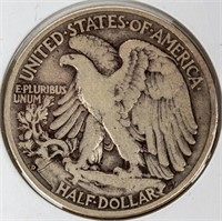 Coin 1938-D Walking Liberty Half Dollar in VG