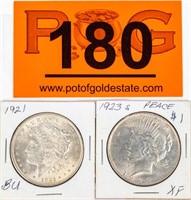 Coin Morgan & Peace Silver Dollar 1921 & 23-S