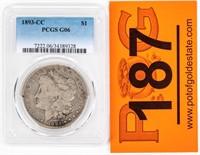 Coin 1893-CC Morgan Silver Dollar PCGS G06