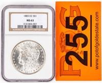 Coin 1883-CC Morgan Silver Dollar NGC MS63