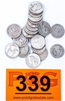 Coin (25) Silver Washington Quarters 1942-64
