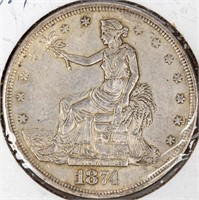 Coin 1874 United States Trade Dollar in Very Fine