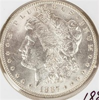 Coin 1887 Morgan Silver Dollar Brilliant Unc.