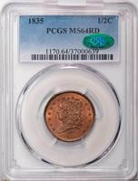 1/2C 1835 PCGS MS64 RD CAC