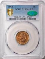 1C 1868 PCGS MS66+ RB CAC