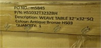 """Weave Cast Aluminum Table - 32"""" Square -Qty 16"""