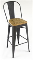 Manhattan Barstool With Back - Wood/Gray -Qty 40