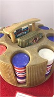 Vintage Rack of Poker Chips and Playing Cards