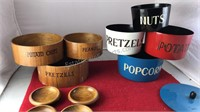 2 Sets of Vintage Nesting Snack Bowls Wood and