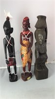 3 Vintage Carved Tribal Figures 2 Marked Made in